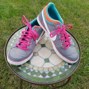 Nike women's canvas skate shoes gray neon trim